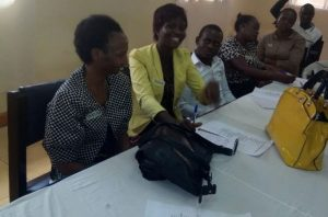 Amina during the 1st training under increasing access to waged employment for PWDs in Kampala